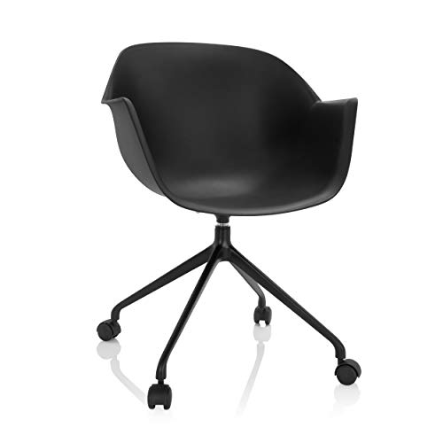 hjh OFFICE 742020 Design Drehstuhl Oslo Kunststoff Schwarz Schalenstuhl mit Rollen, Home-Office Stuhl