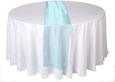 LinenTablecloth 14 x 108-Inch Satin Table Runner Turquoise 14RNR-060169