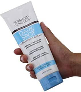 Advanced Clinicals Dark Spot Therapeutic Cream with Vitamin C. Hydroquinone Free. For Age Spots, Blotchy Skin. Face, Hands, Body. Large 8oz Tube. (8oz)