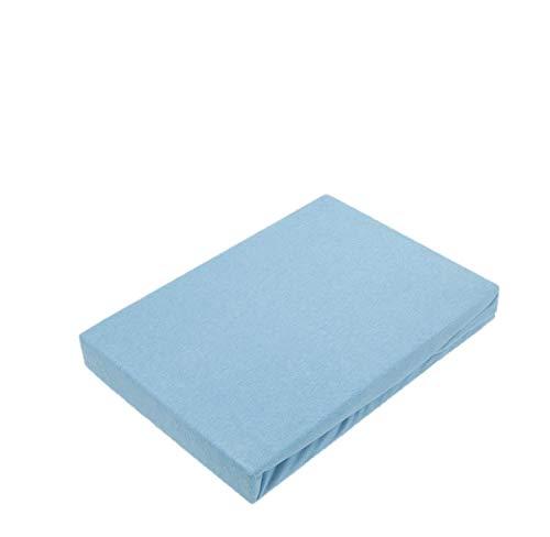 Exklusiv Heimtextil - Sábana bajera ajustable con goma elástica en todo el contorno, 100 % algodón, azul claro, 60 x 120 - 70 x 140 cm