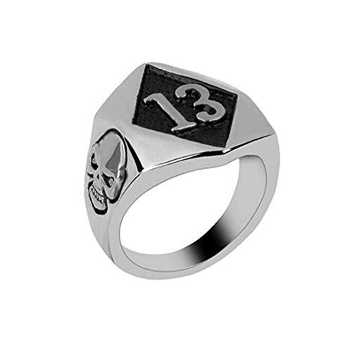 Naicasy Weinlese-Nagel-Ring-Finger-Ring-Punk Slull Diamant-Form-Ringe kühle Schmucksachen für Männer Jungen Geschenke Presents (Silber)