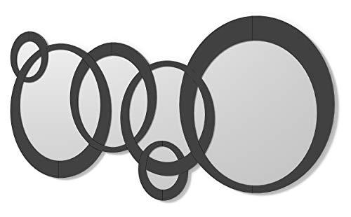 DekoArte E060 - Espejos Decorativos Modernos De Pared | Espejos Decoración para Tu Salón Dormitorio, Entrada, Recibidor | Espejos Sofisticados Grandes Circulos Color Negro | 1 Pieza 140 x 70 cm