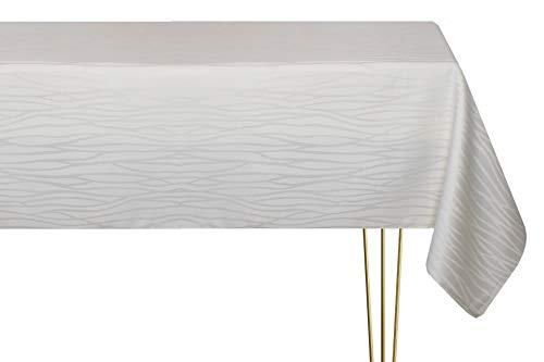 Mantel antimanchas de varios tamaños, formas y colores. Mantel rectangular de color marfil a rayas hecho a mano 100% poliéster. Mantel de jardín 140 x 320 cm