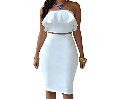 Eiffel Women's Off Shoulder Ruffle Crop Top Pencil Skirt Dress Two-Piece Set (Large, White-1)