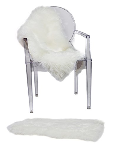 RUGLUSH Super Soft Sheepskin Chair Cover Seat Cushion Pad– Excellent Quality Faux Fur Rug – Modern, Stylish Design – Used As an Area Rug Or...