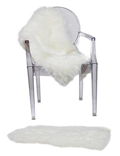 RUGLUSH Super Soft Sheepskin Chair Cover Seat Cushion Pad– Excellent Quality Faux Fur Rug –...
