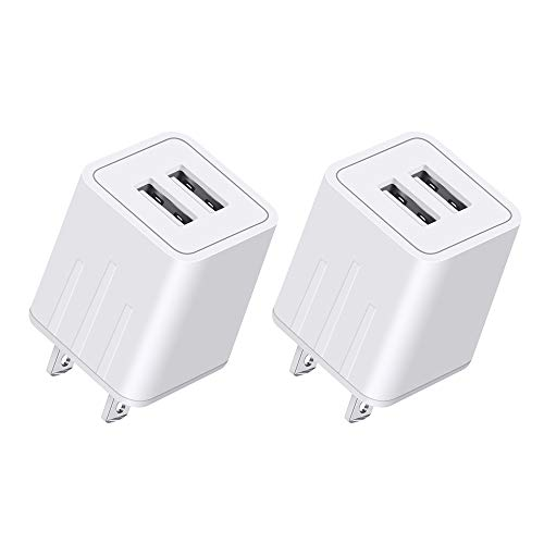 YUNSONG USB Wall Charger, Charger Adapter, 2-Pack 2.1Amp Fast Dual Port Travel Adapter Portable Rapid Phone Charger Block Power Charging Plug (ETL Listed) Compatible with Phone/Pad
