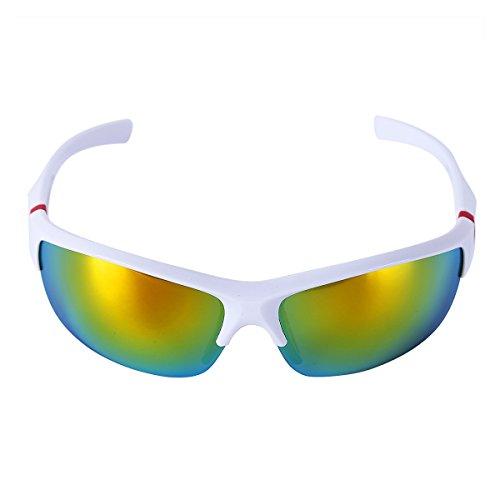 CHICTRY Unisex Sportbrille Fahrradbrille für Herren und Damen Radsportbrille Sonnenbrille UV 400 Schutz Radbrille Polarisiert Windschutz Brille Weiß & Bunt One_Size