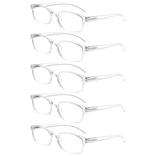Reading Glasses 5 Pairs Quality Readers Spring Hinge Vintage Glasses for Reading for Men and Women (5 Pack Transparent, 1.00)