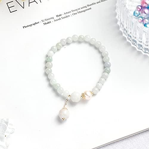 JIUXIAO Cuentas de Piedra de Jade Natural Verde Blanco Pulseras de Mujer Perlas de Agua Dulce Pulsera Hecha a Mano joyería de Moda de la Suerte Regalos Ybr241