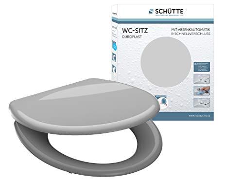 SCHÜTTE Sitz Duroplast Grey, Toilettensitz grau mit Absenkautomatik, WC Brille mit Schnellverschluss für die einfache Reinigung, max. Belastung der Klobrille 150 kg, 82302