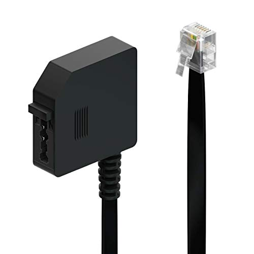 deleyCON 0,2m Telefon Adapter RJ11 Stecker 6P4C auf TAE-F Buchse Flachkabel Telefonadapter Adapterkabel Telefon Router Schwarz
