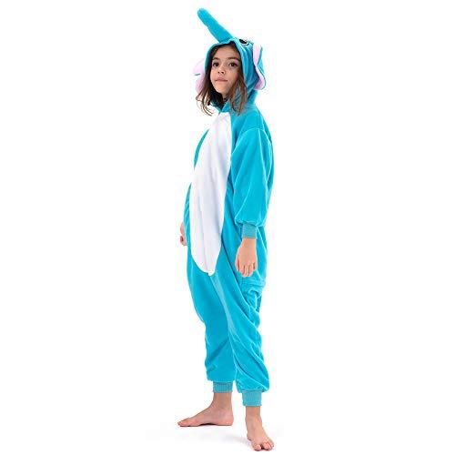 Beauty Shine Kids Onesies Unisex Child Animal Costume Halloween Cosplay Pajamas (6 Years, Blue Elephant)