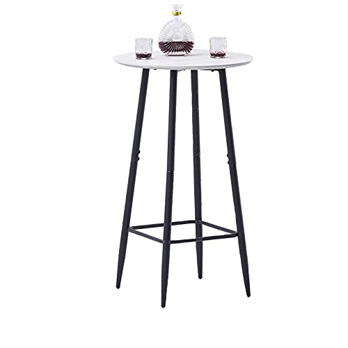 AINPECCA Bar Table, Dark Grey Round Kitchen Table Breakfast Dining Table with Marble Effect MDF Board and Metal Frame, Coffee and Party Table for Cocktails, Bar, Party Cellar, Restaurant lg