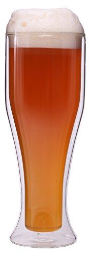Feelino Vaso de cerveza de trigo de doble pared de 500 ml para 300 ml de gonio, vaso de cerveza, vidrio térmico, mantiene el frío durante más tiempo.