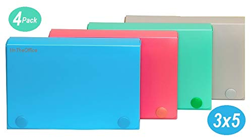 1InTheOffice Index Card Case, 3' x 5' Index Card Holder, Assorted Colors (4 Pack)