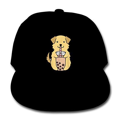 Whhfashion Golden Retriever Bubble Tea Boys Girls Sun Hat Baseball Cap Hip Hop Gorra Cool,Senderismo Ajustable Cap 6-12T Negro