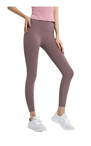 Leggings Deportivos De Cintura Alta,Correr Pantalones de Aptitud Fitness Quick Seco Thin Points Thinking Pantalones Deportivos Mujeres-Color café_Metro