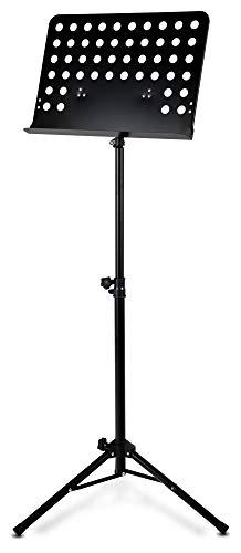 Classic Cantabile Metall Orchesterpult Lochblech - Stabiler Notenständer mit Lochblechauflage - Höhenverstellbar von 58 bis 100cm - Notenpult mit Extra breite 50 cm Auflage - Schwarz