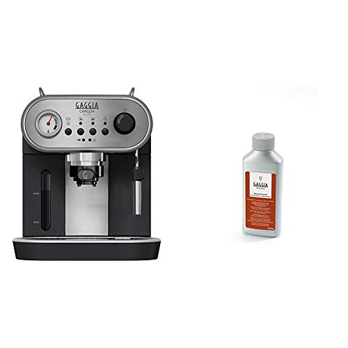 Gaggia RI8525/01 Carezza Deluxe Macchina da Caffè Espresso Manuale, per Macinato e Cialde, Grigio/Nero & RI9111/60 21001681 Soluzione Decalcificante, Flacone da 250 ml, 1000 W, Nero
