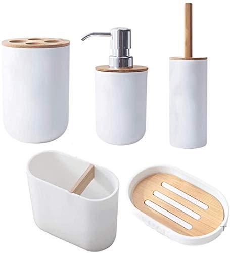 Conjuntos de accesorios de baño Accesorios de baño de estilo japonés y accesorios de baño de plástico conjuntos de jabón con titular del cepillo de dientes del cepillo de inodoro. Kit de accesorios de