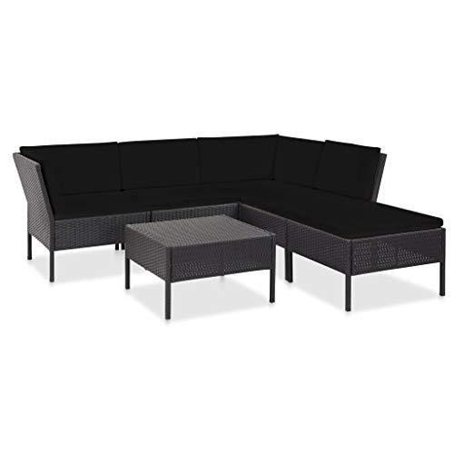 vidaXL Gartenmöbel 6-TLG. mit Auflagen Lounge Möbel Sofa Sitzgarnitur Gartenset Sitzgruppe Gartensofa Gartengarnitur Poly Rattan Schwarz
