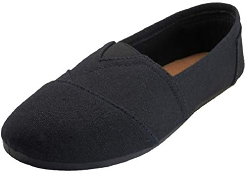 EasySteps Women's Canvas Slip-On Shoes with Padded Insole (7, Black Everywhere)