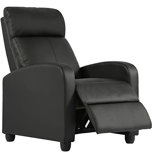 Recliner Chair for Living Room Home Theater Seating Single Reclining Sofa Lounge with Padded Seat Backrest (Black)