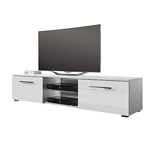 Tenus – TV Bank / TV Schrank, Korpus in Weiß Matt / Fronten in Weiß Hochglanz, 140 cm