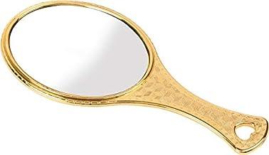 Garden Of Arts Golden Handheld Salon Barbers Hairdressers Oval Mirror with Grip Handle