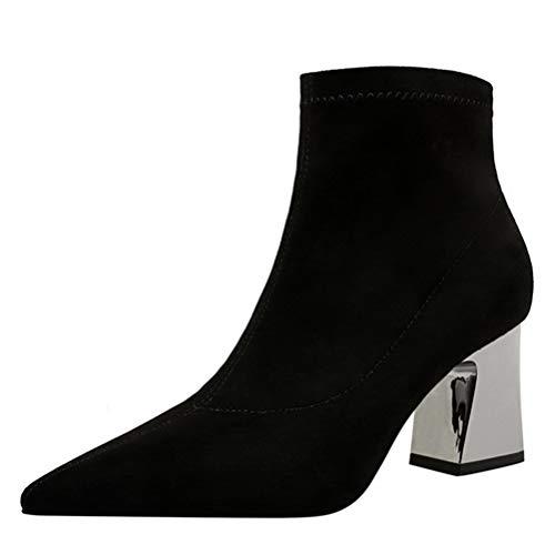 Botas para mujer elegantes con tacón Botines puntiagudos Tacones altos Otoño Invierno Elegante Sexy Tacón ancho Calcetines cortos Botas