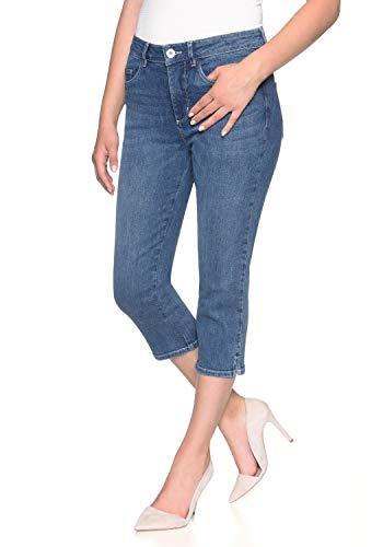 Stooker Tahiti Stretch Capri Jeans Hose Slim Fit Damen Bermuda 7/8 Hose - Blue Denim (W50 L53, 7372 - Blue Denim)