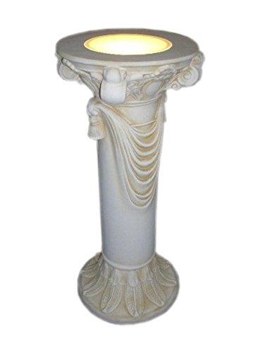 Antikes Wohndesign Blumensäule mit Licht Blumenständer Barock Säule Standsäule Creme