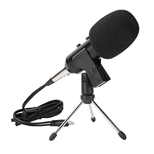 Micrófono de condensador de escritorio USB, micrófono de estudio profesional USB giratorio sin unidad, micrófono de condensador de recogida de escritorio con trípode con control de...
