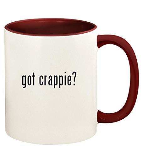 got crappie? - 11oz Ceramic Colored Handle and Inside Coffee Mug Cup, Maroon
