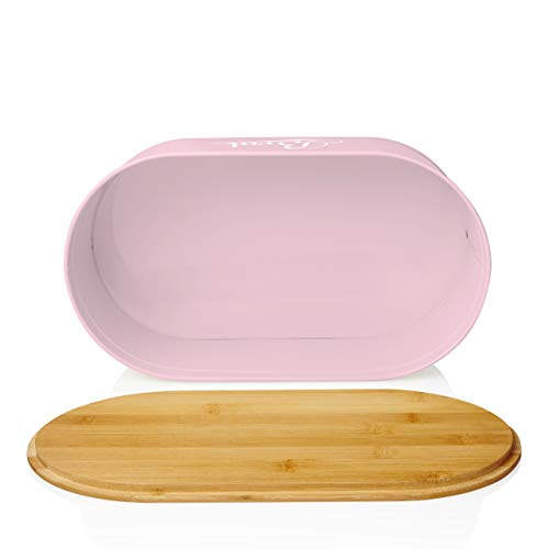 Lumaland Cuisine Bread Bin with Bamboo Lid - Lilac Pink