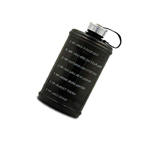 Botella deportes acuáticos, 2.2 litros Botella de gran capacidad a prueba de fugas portátil jarro de agua gimnasio de deportes al aire libre de la familia, Utensilios de estar Negro Práctica