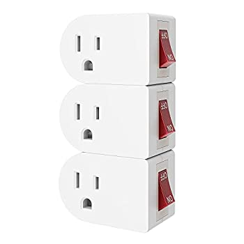 oviitech 3 Pack Grounded Outlet Wall Tap Adapter with On/Off Power Switch,Single Outlet with Switch in White