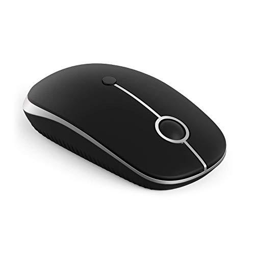 Jelly Comb Ratón inalámbrico Bluetooth, Mouse Silencioso Doble-Modo (2.4G USB + Bluetooth), 3 dpi, para computadora/PC/Macbook Pro/Tableta/iPad, Windows/Mac OS/Linux/Android, Negro y Plateado