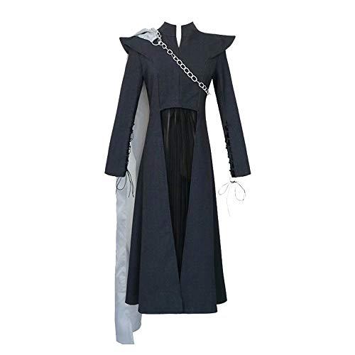 XFei Daenerys Targaryen Cosplay Kostüm Outfit Damen Schwarz Langarm Kleid Cosplay Party Queen Kostüm Kette Cape mit Perücke