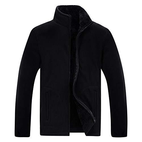 XWLY Jacke Herren Slim Fit Bequemes Futter Plus Fleece Winddicht Warme Herrenjacke Frühling Herbst Winter Reißverschluss Jacke Elegante Business Casual Fleece Jacke A-Black 4XL