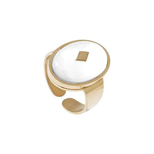 Zag Bijoux - Anillo ovalado y piedra ágata blanca (dorado)