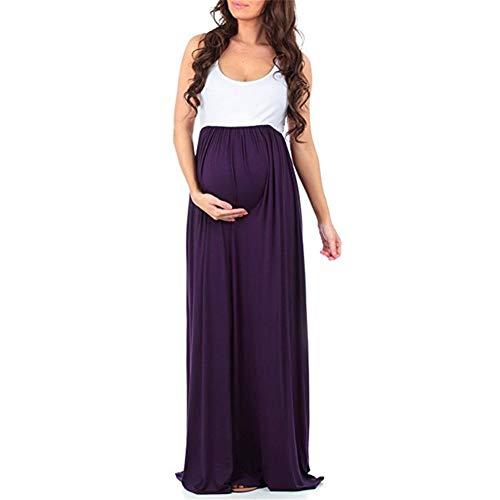 FEIFUSHIDIAN Capuche Femme Couleur Unie Couture Col Rond Manches Robe Salopette Mis sur Une Grande Femme Enceinte Bloquer Pull-up ( Color : Purple , Size : XL )