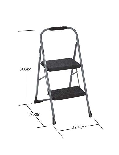 Cosco 11308PBL1E Two Step Big Step Folding Step Stool with Rubber Hand Grip, Gray