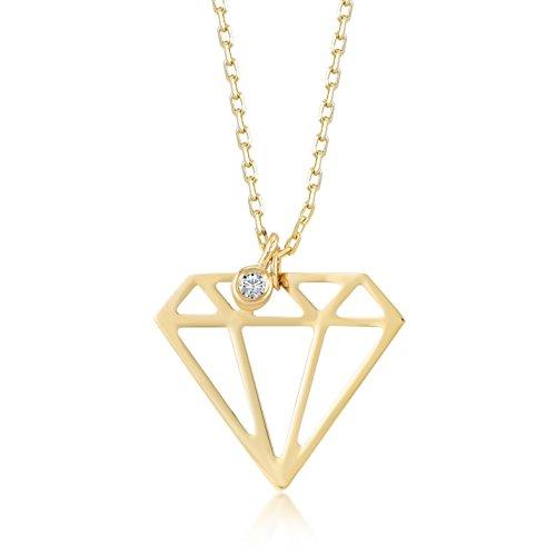 Damen Halskette 14 Karat / 585 Gelbgold Diamantförmig-Anhänger mit 0.01 Diamant, Echt Goldkette, Kettegröße 45cm