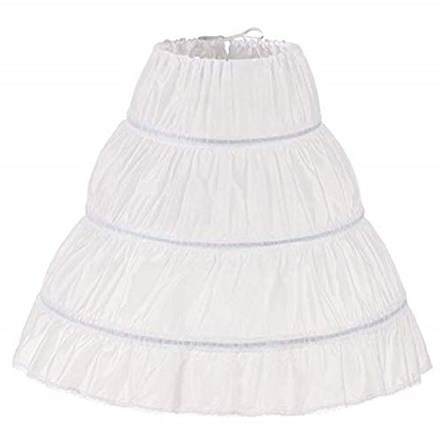 Meitemei Girls' 3 Hoops Petticoat Full Slip, White, Size 2-6 Yrs,Length 21.65'