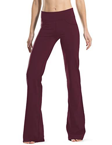Safort Regular/Tall Bootcut Yoga Hose mit 71cm/76cm/81cm/86cm Schrittlänge, 4 Hosentaschen,Lange Bootleg-Hose, Flare-Hose, Rot L