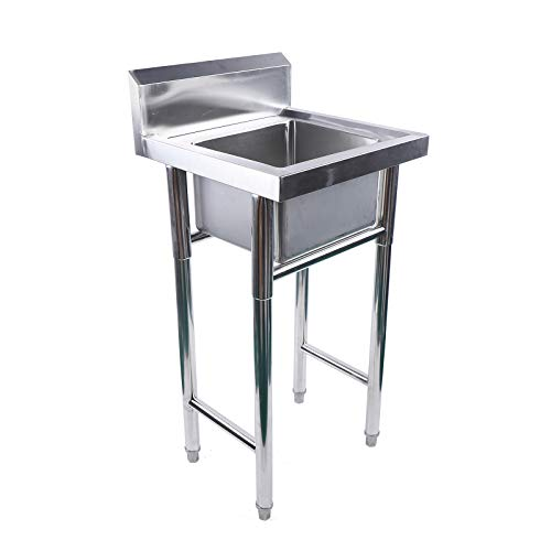 Commercial Kitchen Sink 1 Compartment Stainless Steel with Drainboards Household Silver Large Drain Bowl Commercial Kitchen Prep and Utility Sink for Restaurant, Garage and Backyard
