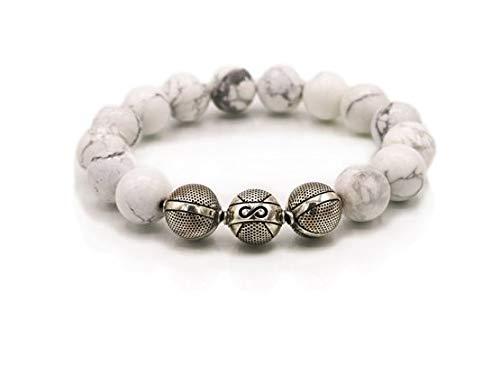 Pulsera de piedras preciosas, Howlite Glanze, 12 mm, pulsera para hombre, plata de ley 925