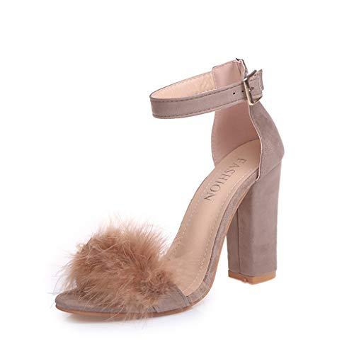 Sandalias de Tacón Vestir Moda Punta Abierta Tira Tobillo para Mujer Mujer Bajo Gatito Talón Correa de Tobillo Ante Oficina Trabajo Noche Sandalia Zapatos